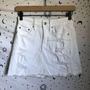 American Eagle Distressed Stretch Denim Mini Skirt